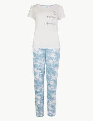 Life Is Better In Pyjamas Slogan Pyjama Set