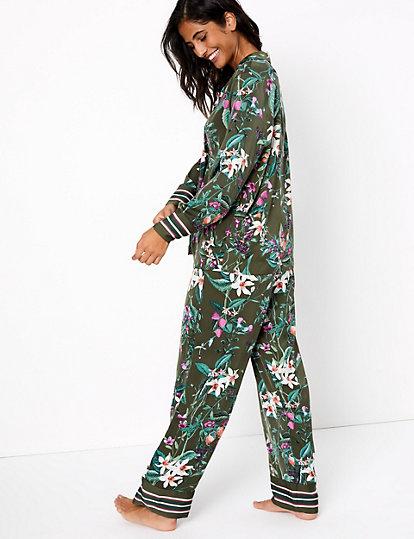 NEW Marks /& Spencers PYJAMA SET M/&S Black satin floral luxury Long Sleeve 12 14