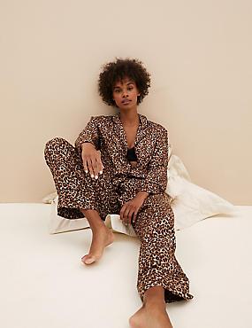 Leopard Print Pyjama Set with Eye Mask