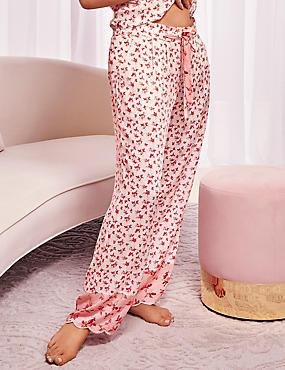 Pure Modal Ditsy Print Pyjama Bottoms, PINK MIX, catlanding