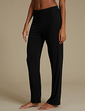 Straight Leg Pyjama Bottoms, BLACK, catlanding