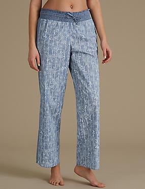 Pure Cotton Floral Print Pyjama Bottoms, BLUE MIX, catlanding