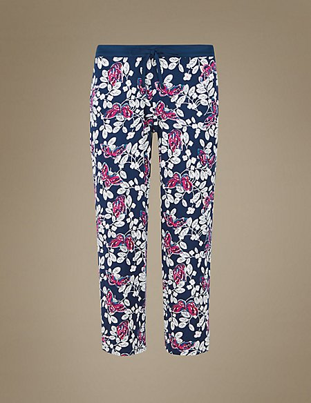 Butterfly Print Cropped Pyjama Bottoms