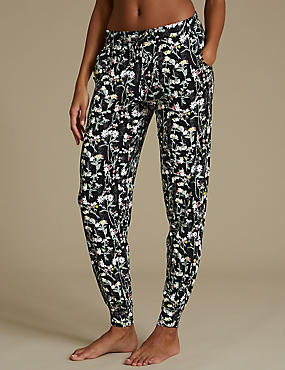 Floral Print Cuffed Hem Pyjama Bottoms, BLACK MIX, catlanding