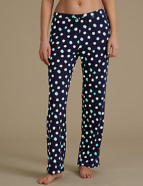 Spotted Wide Leg Pyjama Bottoms