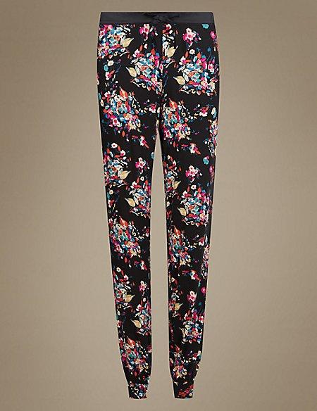 Floral Satin Cuff Pyjama Bottoms