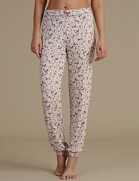 All Over Bird Print Cuffed Pyjama Bottoms