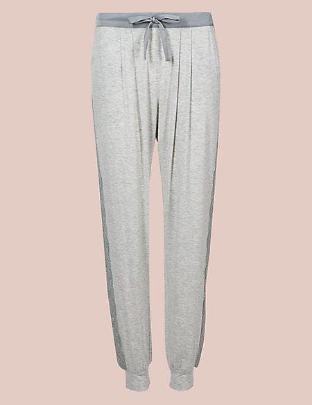 Lace Trim Cuffed Hem Pyjama Bottoms