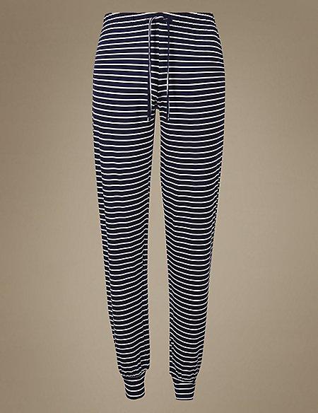Cuffed Hem Striped Pyjama Bottoms