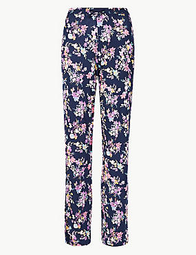 Floral Print Pyjama Bottoms, NAVY MIX, catlanding