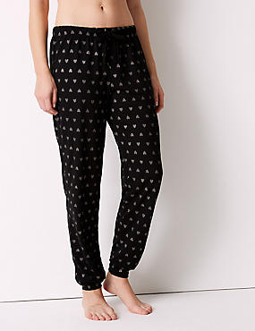 Glitter Heart Print Pyjama Bottoms