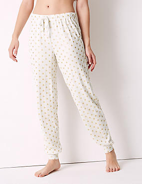 Glitter Star Print Cuffed Hem Pyjama Bottoms