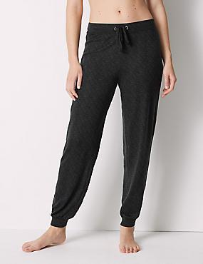 Textured Long Pant Pyjama Bottoms , BLACK MIX, catlanding