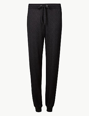 Textured Long Pant Pyjama Bottoms , BLACK MIX, catlanding
