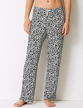 Animal Print Long Pant Pyjama Bottoms, GREY MIX, catlanding