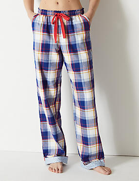 Pure Cotton Checked Long Pyjama Bottoms, BLUE MIX, catlanding