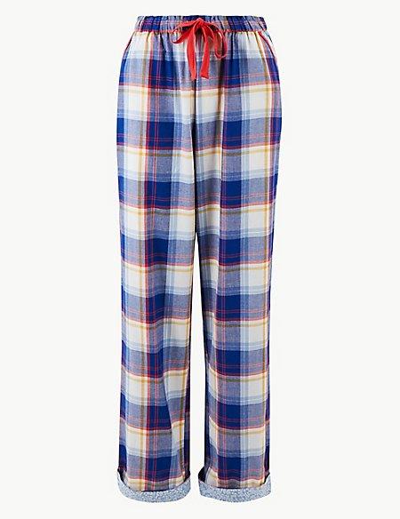Pure Cotton Checked Pyjama Bottoms