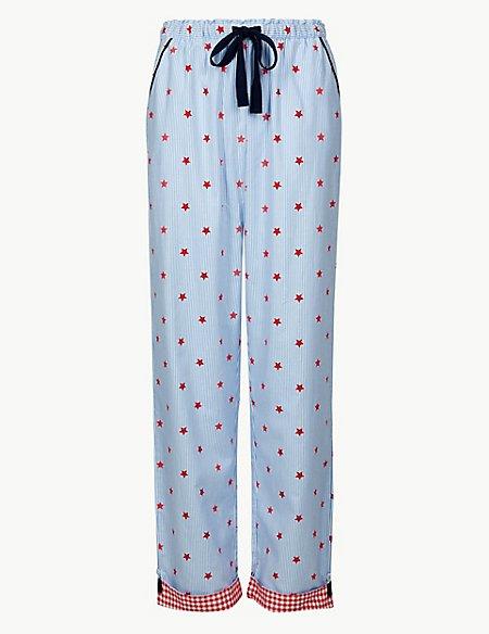 Pure Cotton Star Print Pyjama Bottoms