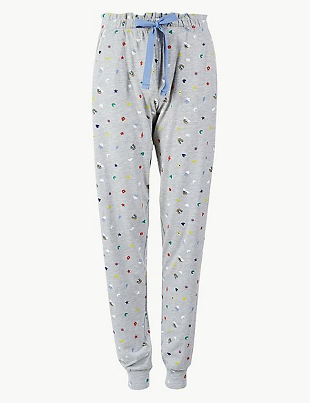 Cotton Rich Printed Pyjama Bottoms