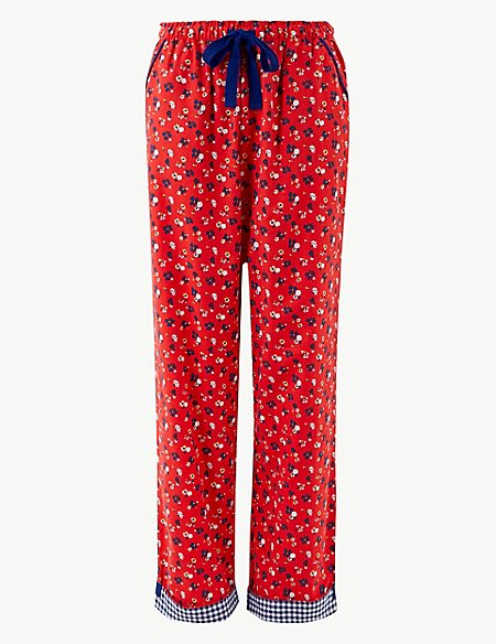 Pure Cotton Floral Print Pyjama Bottoms