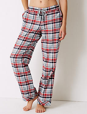 Pure Cotton Checked Pyjama Bottoms, GREY MIX, catlanding