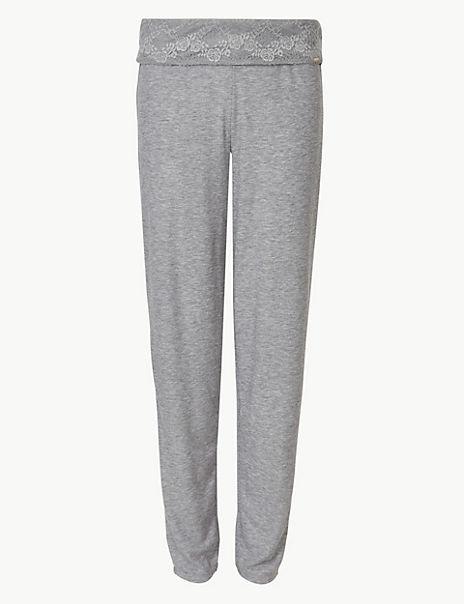 Lace Trim Ribbed Pyjama Bottoms