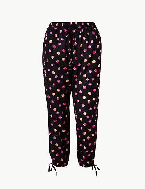 Pure Cotton Dotty Cropped Pyjama Bottoms