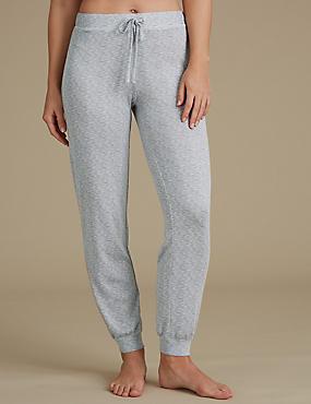Textured Cuffed Hem Pyjama Bottoms, GREY MIX, catlanding