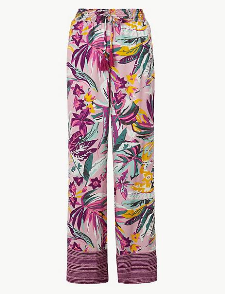 Tie Front Tropical Pyjama Bottoms