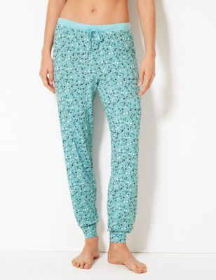 Heart Print Cuffed Hem Pyjama Bottoms