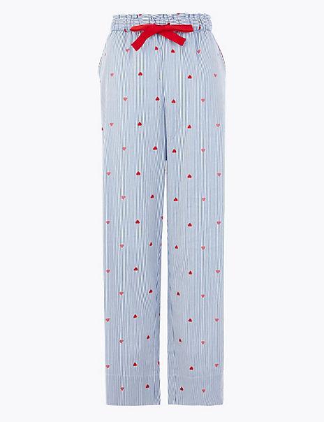 Pure Cotton Heart & Striped Pyjama Bottoms
