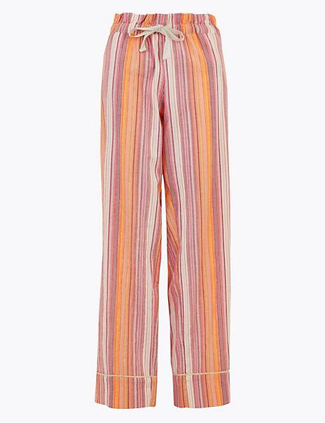 Cotton Striped Long Pyjama Bottoms
