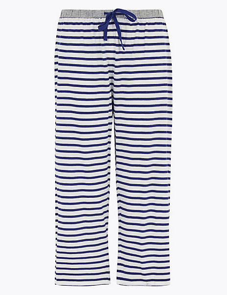 Cotton Striped Cropped Pyjama Bottoms