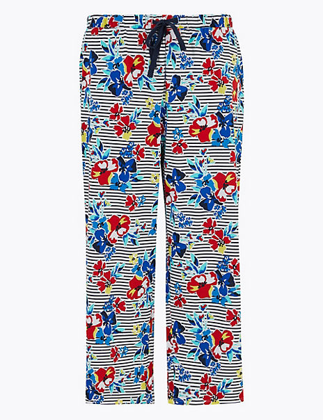 Cotton Floral Print Cropped Pyjama Bottoms