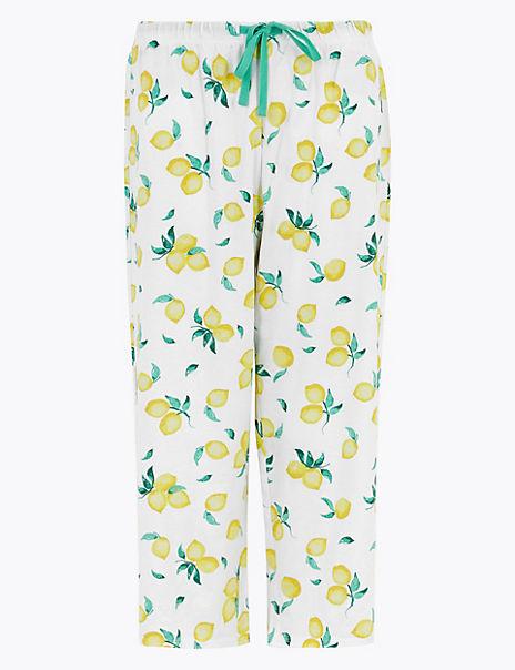 Cotton Lemon Print Cropped Pyjama Bottoms