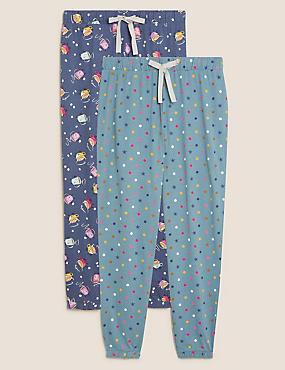 2 Pack Cotton Printed Pyjama Bottoms