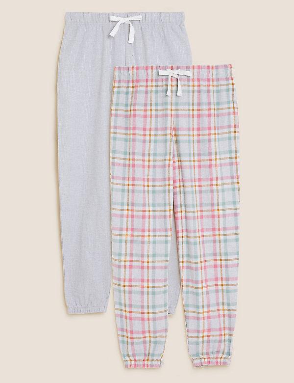 2 Pack Printed Cuff Pyjama Bottoms