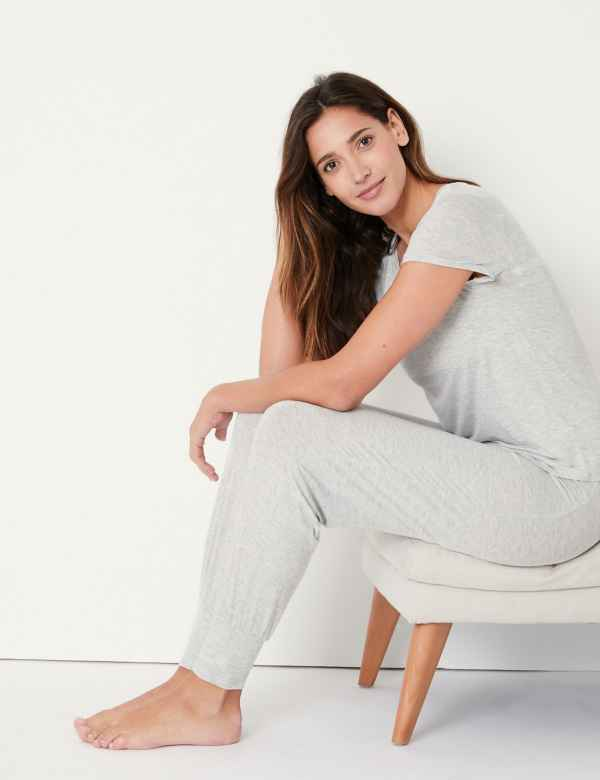 p60271891: Sumptuously Soft Lace Trim Pyjama Set