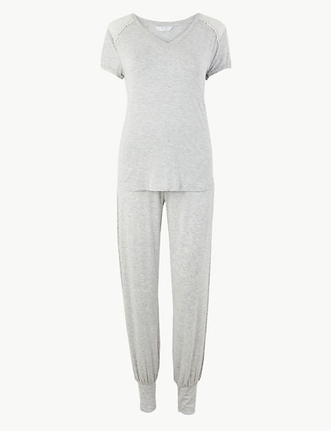 Sumptuously Soft Lace Trim Pyjama Set