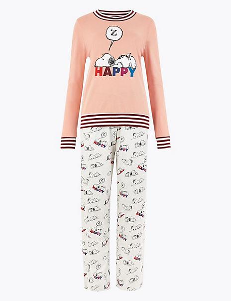 Snoopy™ Print Slogan Long Pyjama Set