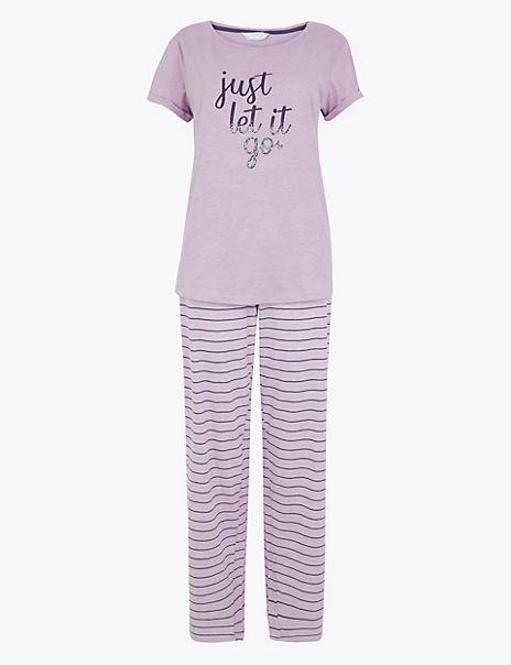 Just Let It Go Slogan Pyjama Set