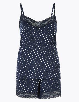 Heart Print Camisole Pyjama Set