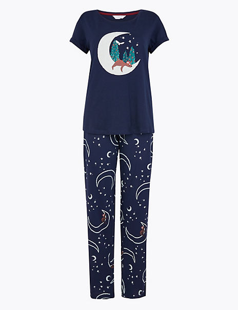 Pure Cotton Moon & Bear Print Pyjama Set