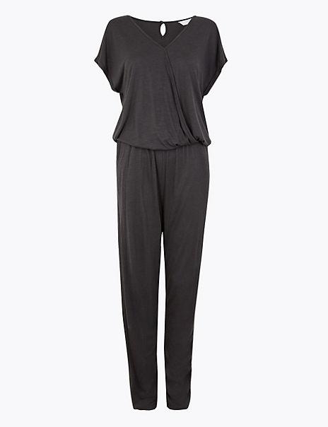Jersey Wrap Short Sleeve Jumpsuit