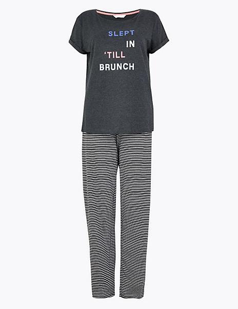 Slept In 'Till Brunch Slogan Pyjama Set