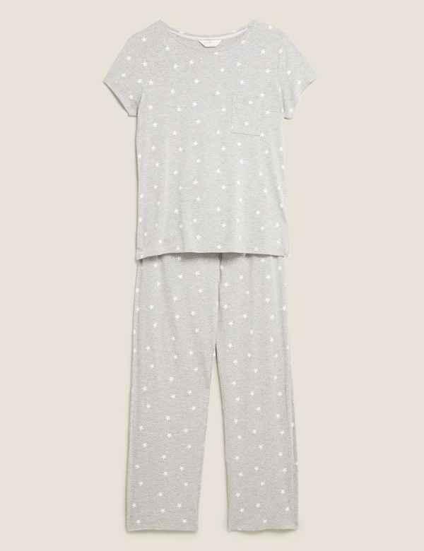 New M/&S Spotted Black /& White Pure Soft Touch Cuff Bottom Pyjamas Sz UK 6-8