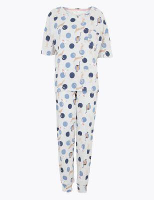 Cotton Cat Print Short Sleeve Pyjama Set