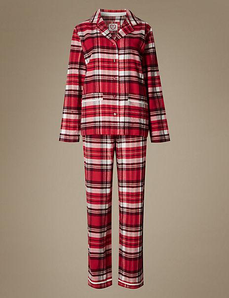 Pure Cotton Checked Flannel Revere Collar Pyjamas