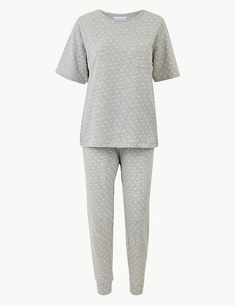 Textured Dot Cuffed Hem Pyjama Set