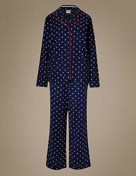 Pure Cotton Star Print Revere Collar Pyjamas
